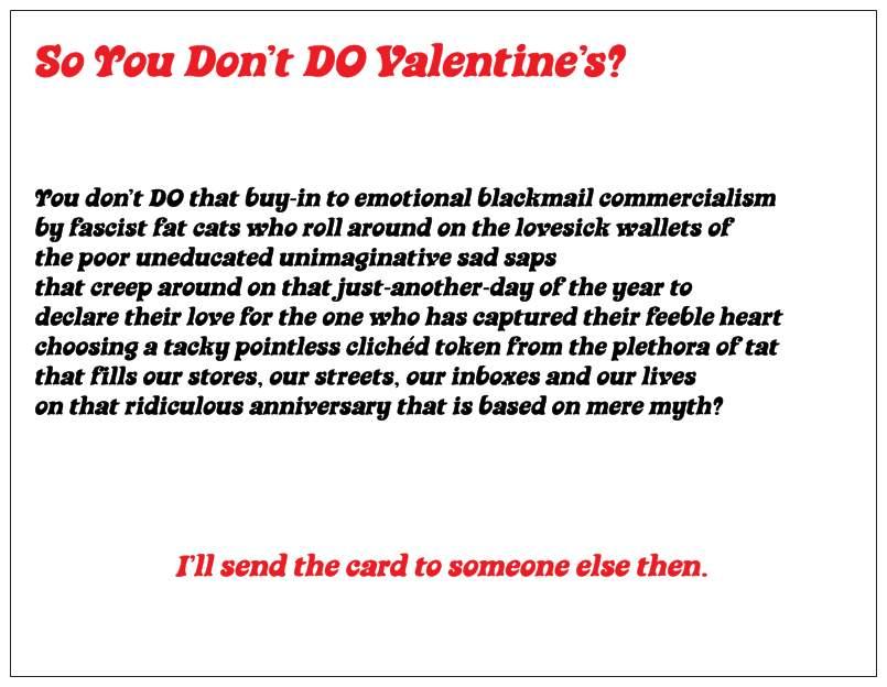 anti-valentine poem | BOONWRITER
